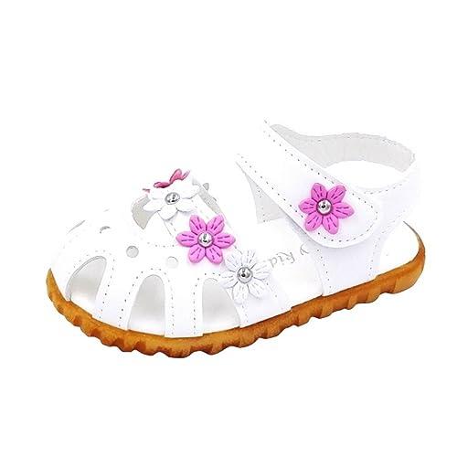 169c5d3f8844e Evedaily Bébé Fille Chaussures Sandales Bout Fermé Été en Cuir Motif Fleur Semelle  Antidérapante Blanches