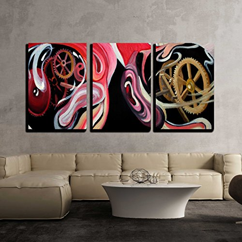 wall26 - 3 Piece Canvas Wall Art - Texture, Background and Colorful Image of an Original Abstract Painting - Modern Home Decor Stretched and Framed Ready to Hang - 16