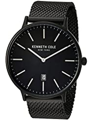 Kenneth Cole New York Mens Classic Quartz Stainless Steel Dress Watch, Color:Black (Model: KC15057012)