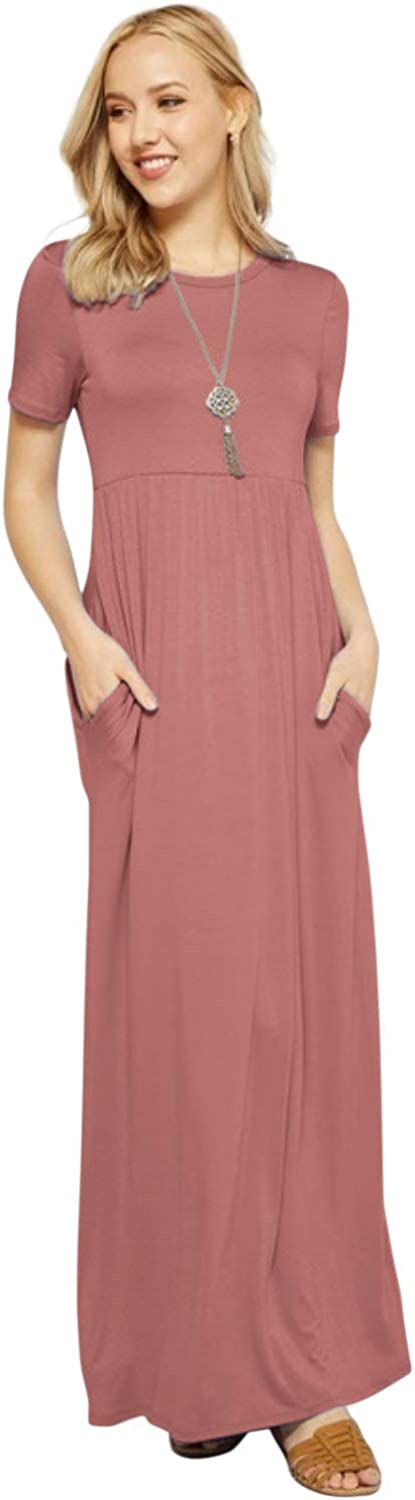 Maxi Dresses for Women Solid Lightweight Long Casual Short Sleeve W//Pocket