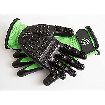 #1 Ranked, Award Winning Handson Gloves for Shedding, Bathing, Grooming, De-Shedding Horses, Dogs, Cats, Livestock, Small Pets GRN XL
