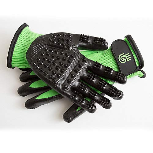 #1 Ranked, Award Winning Handson Gloves for Shedding, Bathing, Grooming, De-Shedding Horses/Dogs/Cats/Livestock/Small Pets - Green MEDIUM
