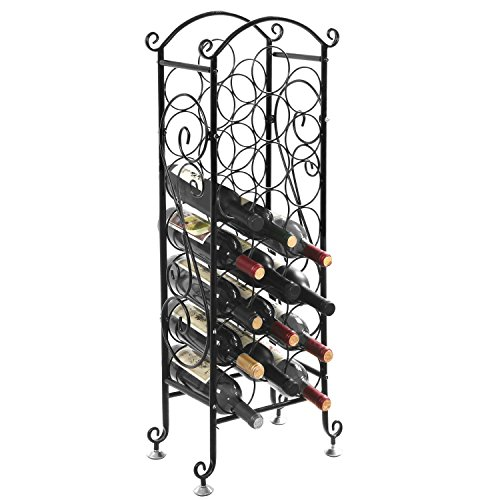 MyGift Wine Bottle Storage Rack / Vintage Wine Holder, Fits 21 Bottles, Black by MyGift