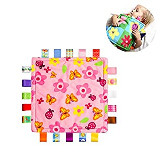 StoHua Child Taggy Security Blanket - Baby Girl Teething Blanket with Stain Tags - Soft Touch Comforter Blankets Plush Toy Pink