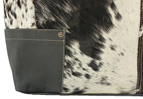 Sunsa Trachten Kuhfell Shopper Tasche - Schwarz Weiß - Große Schultertasche für Damen 8EfA4y6vcO