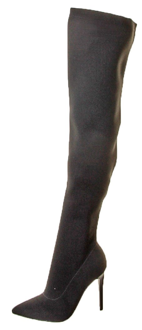 KENDALL + KYLIE Women's Anabel II Thigh High Stretch Boots, Black, 8 B(M) US