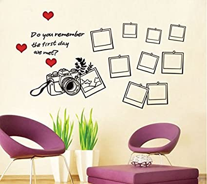 Buy SYGA Black Camera With Photo Frames Decals Design Wall Stickers ...