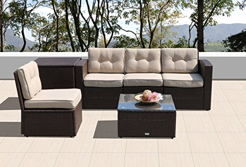 rniture Sectional Sofa Set (6-Piece Set) All-Weather Brown Wicker with Beige Seat Cushions &Glass Coffee Table&Storage Table| Patio, Backyard, Pool|Aluminum Frame (Beige Cushions Outdoor Aluminum Patio)