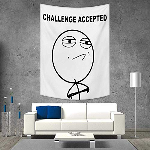 smallbeefly Humor Tapestry Wall Tapestry Challenge Accepted Guy Meme Caricature Man Trippy Styled Artsy Modern Picture Art Wall Decor 51W x 60L INCH Black -