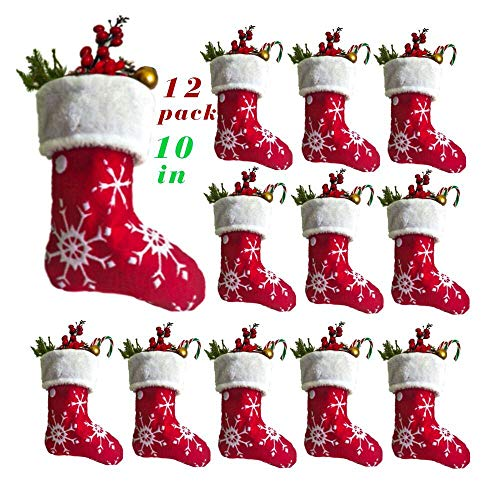 Vanteriam 10 inch Mini Christmas Stockings with White Snowflake, 12 Pack Red Small Xmas Stockings with Fleece Cuff, Rustic Stocking Decorations for Whole Family (Christmas In Bulk Stockings)