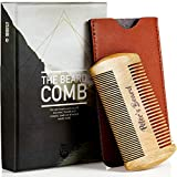 Beard Comb for Men - Wooden Natural Sandalwood Antistatic No Static Dual Action Beard Comb - Fine & Coarse Tooth Perfect for Balms and Oils - Includes PU Leather Case - Presented in Cardboard Gift Box