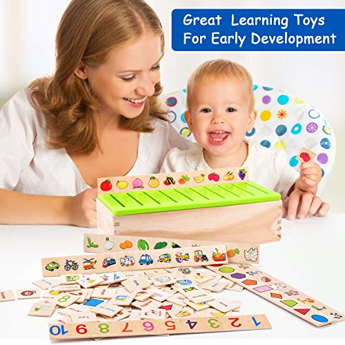 Wooden Montessori Toys for Toddlers Sorting Box Educational Toys Preschool Kindergarten Learning Games Activities Matching Fine Motor Skills STEM for Kids Girls Boys Age 2 3 4 5 Year Old