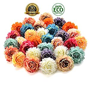 silk flowers in bulk wholesale Fake Flowers Heads Silk Rose Artificial Flower Heads Wedding Home Furnishings DIY Wreath Handicrafts Fake Flowers 30pcs 4.5cm (Multicolor) 41