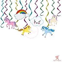 Party Propz Set of 12 Unicorn Theme Swirls Hanging Decoration for Unicorn Birthday Decorations/Unicorn Party Supplies