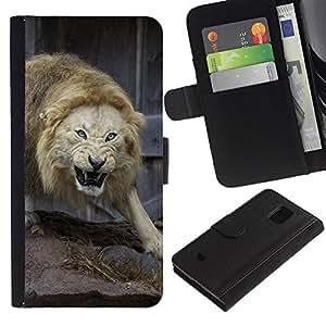 All Phone Most Case / Oferta Especial Cáscara Funda de cuero Monedero Cubierta de proteccion Caso / Wallet Case for Samsung Galaxy S5 Mini, SM-G800 // Angry Fight Lion Nature Animal King