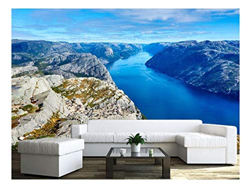 wall26 - The Top View of Mountain and River in The Blue Sky - Removable Wall Mural | Self-Adhesive Large Wallpaper - 100x144 inches