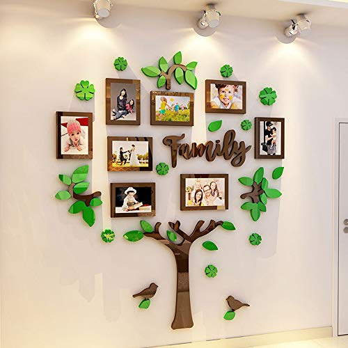 Green 3D Acrylic DIY Tree Wall Decals for Living Room, Beautiful Applique Wall Art, Original Design Medium Detachable Family Tree Wall Stickers with Photo Frame, Easy to Install, Not Easy to Drop.