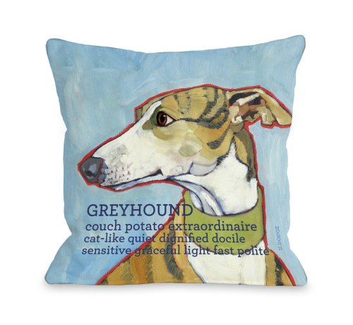 One Bella Casa Greyhound 1 Throw Pillow, 16 by 16-Inch