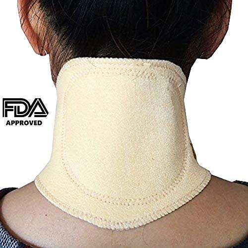 (Magnetic Neck Wrap, Support, with 800 Gauss Magnets Plus Tourmaline. Magnetic Therapy and Natural Far Infrared Heat Perfect for Neck Pain Relief, Headache, Sleeping, Travel, Work, FDA Approved)