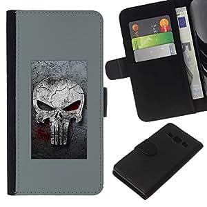 All Phone Most Case / Oferta Especial Cáscara Funda de cuero Monedero Cubierta de proteccion Caso / Wallet Case for Samsung Galaxy A3 // GRAY PUNISH SKULL
