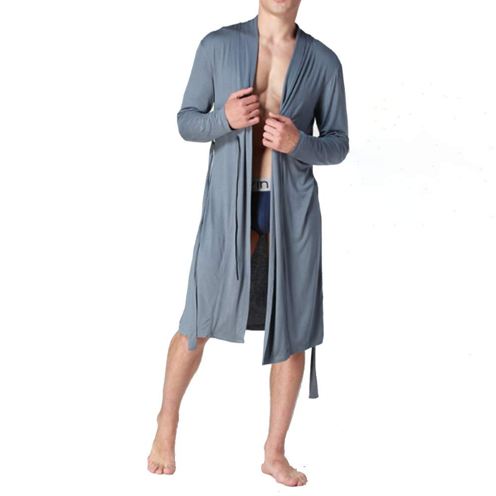 ZYG.GG Men Night Gown Large Size Pajamas Tracksuit Thin Section Bathrobe Bathrobe Smooth Comfortable Soft Cool