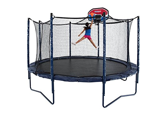 JumpSport 14' Elite Basketball Package | Includes Trampoline, Safety Enclosure, Proflex Basketball Hoop | Unforgettable Overlapping Doorway | Easy-Up Net Installation | Exclusive Spring Technology