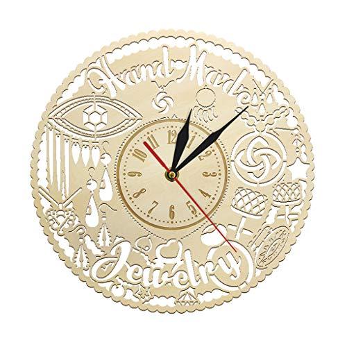 - Zdtxkj Handmade Jewelry Wooden Wall Clock Fashion Wall Art Jewel Hanging Timepiece Wall Watch Jewelry Shop Sign Luxurt Store Wall Decor