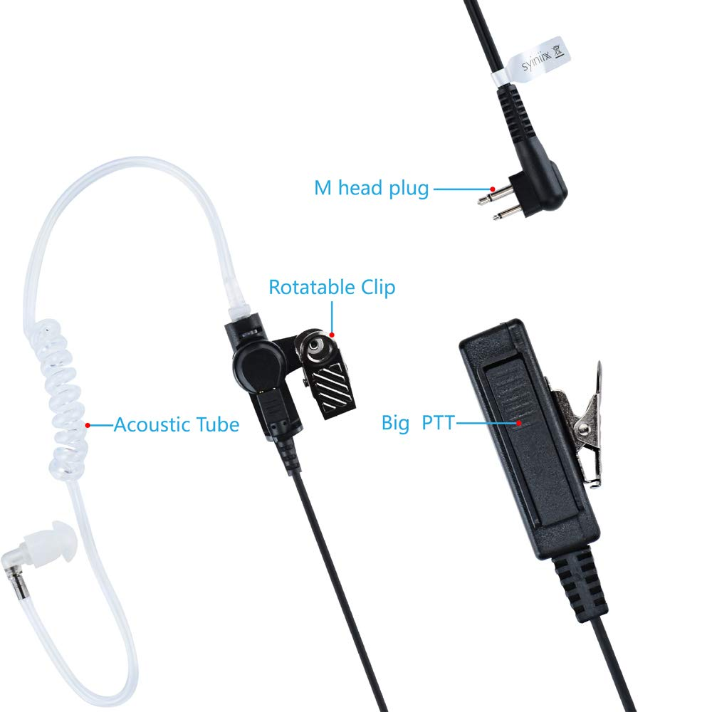 Two Way Radio Earpiece Syiniix 2Pin MIC Walkie Talkie Earpiece M Head with Covert Acoustic Tube Headset Compatible with Two Way Radio Motorola CP200 GP88 GP2000 CLS1413 1 Pack
