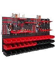 39 Stapelboxen, gereedschapshouder, wandrek, werkplaatsrek, gereedschapswand, 156 x 78 cm, gereedschapshouder, opslagsysteem, opbergkast, extra sterke wandplaten, uitbreidbaar, werkplaatsrek, magazijnrek