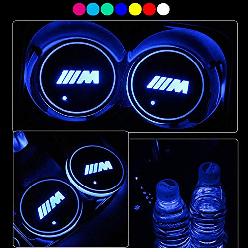 Lntly LED Car Logo Cup Holder Pad Waterproof Bottle Drinks Coaster Built-in Light 7 Colors Changing USB Charging Mat LED Cup Mat Car Atmosphere Lamp 2PCS ()