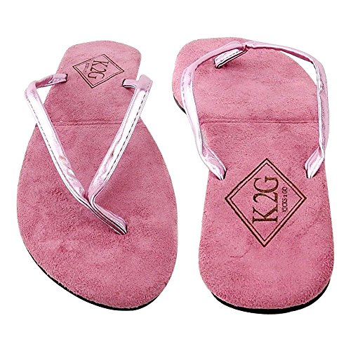 Ladies' Folding Flip-Flops with Pouch, Spa, Beach, Pool, Shower - Shimmerpink, Large.