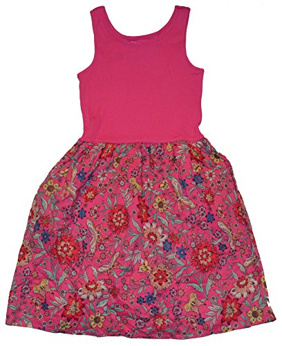 GAP Kids Girls Pink Floral Mix-Fabric Tank Sun Dress XS 4 5