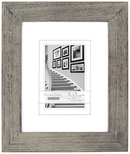 Malden International Designs Manhattan Distressed Mat Picture Frame, 5x7/8x10, Gray
