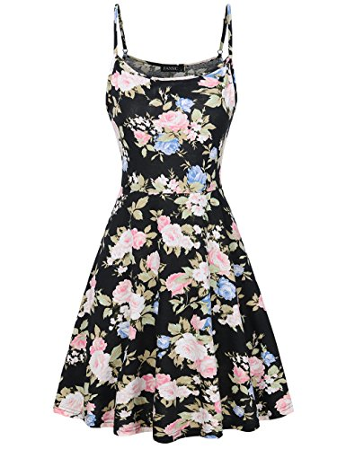 FANSIC Tank Dress for Women,Summer Sleeveless Floral Flattering Scoop Neck Dress Black and Blue Large