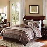 Madison Park Princeton 7 Piece Comforter Set, Queen, Red