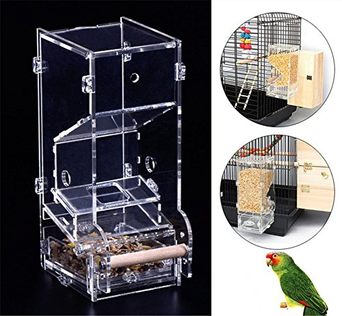 Cheap Ymachray No Mess Bird Feeder Parrot Feeder Seed Food Container