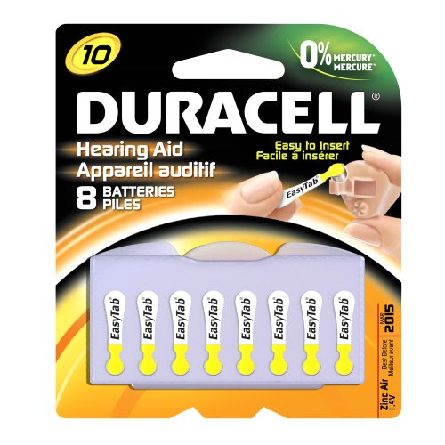 Duracell DA10B8ZM10 Easy Tab Hearing Aid Zinc Air Battery, 10 Size, 1.4V, 95 mAh Capacity - 8 count by Duracell (Image #1)