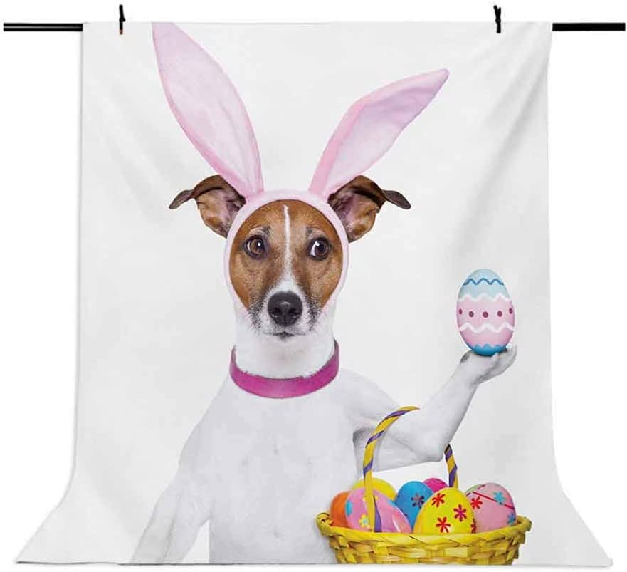 Easter 6.5x10 FT Photo Backdrops,Dog Dressed up as Easter Bunny Holding a Basket of Eggs Funny Animal Illustration Background for Party Home Decor Outdoorsy Theme Vinyl Shoot Props Multicolor