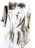 Original charcoal drawing Artistic graphic art sketch Woman Modern Figurative Wall decor