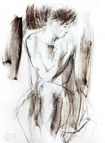 Original charcoal drawing Artistic graphic art sketch Woman Modern Figurative Wall decor by IvMarART