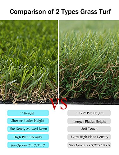 GOLDEN MOON Outdoor Turf Rug Premium Artificial Grass Mat 1 1/2'' Blade Height 5-Tone Realistic & Soft Series Green 3x6ft (18sq ft) by GOLDEN MOON (Image #5)
