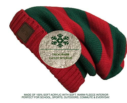 W.W Christmas Beanie Hat for Men and Women Holiday Edition Slouchy Hat Fur Lined Cable Knit Skully Red and Green -