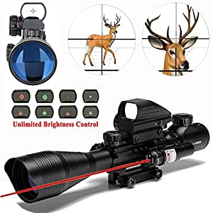 AR15 Tactical Rifle Scope 4-12x50EG Dual Illuminated with Red Laser and 4 Tactical Holographic Red and Green Dot Sight