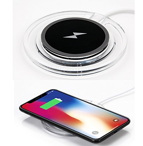 Kingrise Wireless Charger Qi Wireless Charging Pad For iPhone 8 / iPhone 8 plus / iPhone X / Galaxy S6 / S6 Edge / S7 / S7 Edge / S8 / S8 Edge / Note5 Standard Qi Charger Pad (Black)