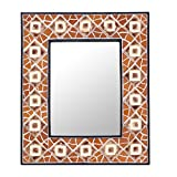 NOVICA Mosaic Glass Wall Mounted Mirror, Brown, 'Geometry Mosaic'