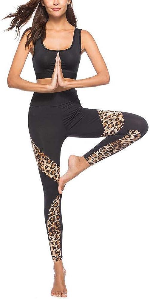 URIBAKE Women Leopard Stitching Leggings High Waist Black Sports Gym Running Yoga Athletic Pants