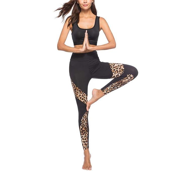 VPASS Mujer Pantalones,Elásticos Impresión Pantalones de Yoga de Leopardo Mujer Fitness Mallas Gym Yoga Slim Fit Pantalones Largos Pantalones Leggings ...