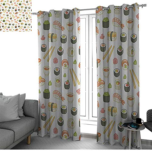 Artistic Food Decor Collection Living, Dining Room, Bedroom Curtains Japanese Sushi Fun Decorations Blackout Curtain Colorful W120 x L84 Inch