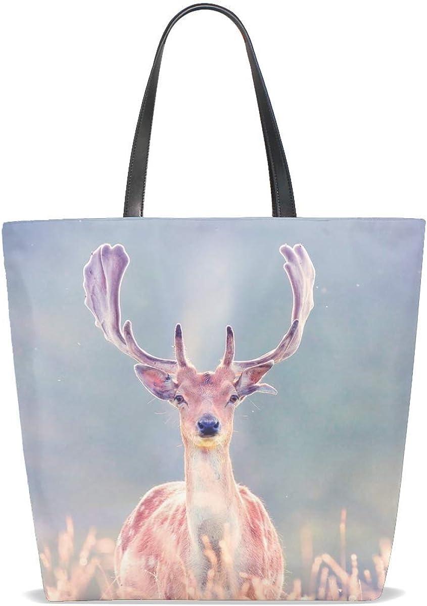 Deer Antlers Grass Walk Blurring Tote Bag Purse Handbag For Women Girls