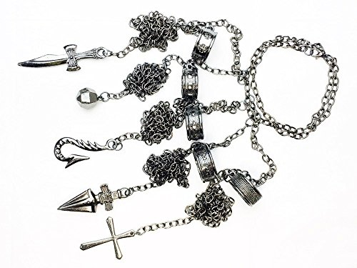Mxnpolar Hunter Hunter X Hunter Kurapika 5 Fingers Rings Bracelet Chain (Hunter X Hunter Cosplay Costume)